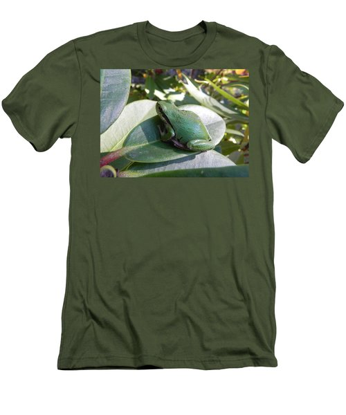 Men's T-Shirt (Slim Fit) featuring the photograph Chorus Frog On A Rhodo by Cheryl Hoyle