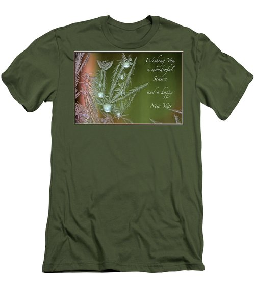 Men's T-Shirt (Slim Fit) featuring the mixed media Christmas Greeting Card Ice Flowers by Peter v Quenter