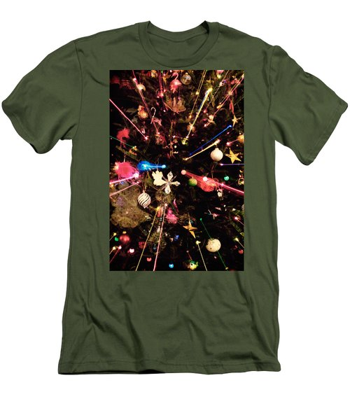 Men's T-Shirt (Slim Fit) featuring the photograph Christmas Tree Lights by Vizual Studio