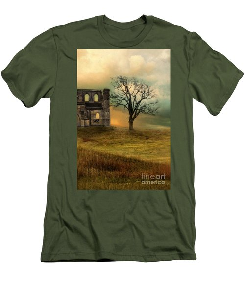 Church Ruin With Stormy Skies Men's T-Shirt (Athletic Fit)