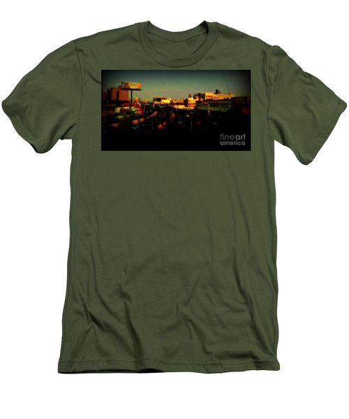 Men's T-Shirt (Slim Fit) featuring the photograph City Of Gold - New York City Sunset With Water Towers by Miriam Danar