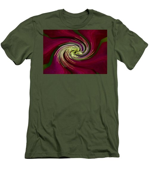 Men's T-Shirt (Slim Fit) featuring the photograph Claret Red Swirl Clematis by Debbie Oppermann