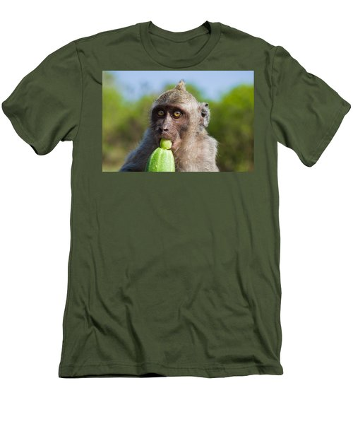 Closeup Monkey Eating Cucumber Men's T-Shirt (Athletic Fit)