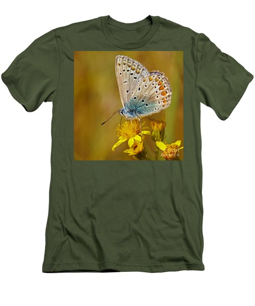 Closeup Of A Common Blue Butterfly Men's T-Shirt (Athletic Fit)