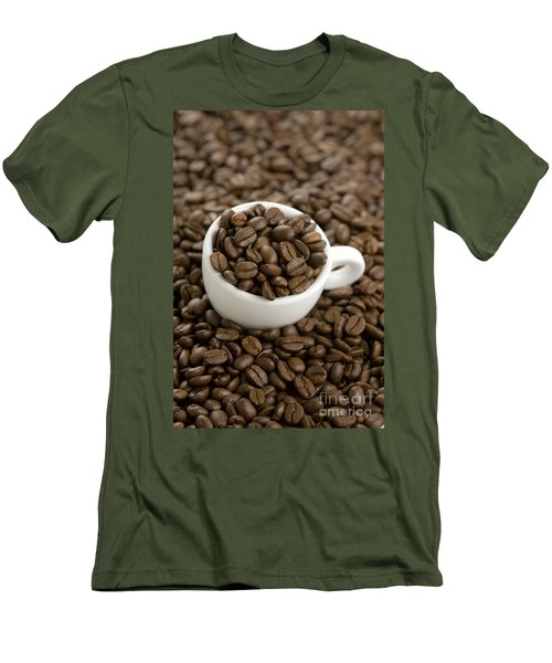 Men's T-Shirt (Slim Fit) featuring the photograph Coffe Beans And Coffee Cup by Lee Avison