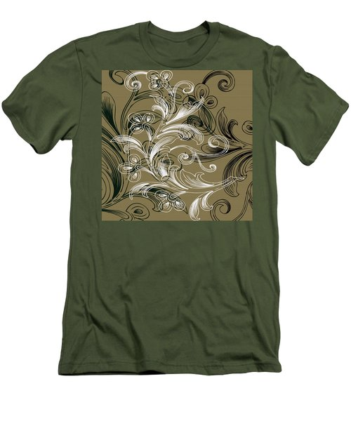Coffee Flowers 4 Olive Men's T-Shirt (Slim Fit) by Angelina Vick