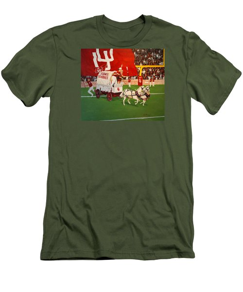 Men's T-Shirt (Slim Fit) featuring the painting College Football In America by Alan Lakin