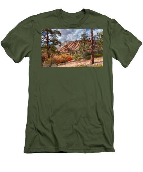 Men's T-Shirt (Athletic Fit) featuring the photograph Color Competition At Zion National Park by John M Bailey