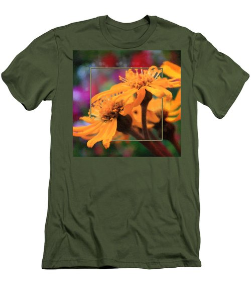 Men's T-Shirt (Slim Fit) featuring the photograph Color Pizzaz With Collaged Textures by Sandra Foster