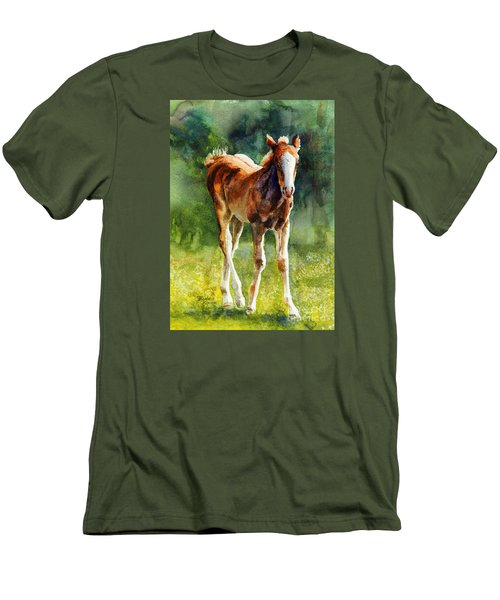 Men's T-Shirt (Slim Fit) featuring the painting Colt In Green Pastures by Bonnie Rinier