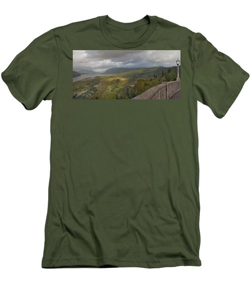 Men's T-Shirt (Slim Fit) featuring the photograph Columbia River Gorge View From Crown Point by JPLDesigns