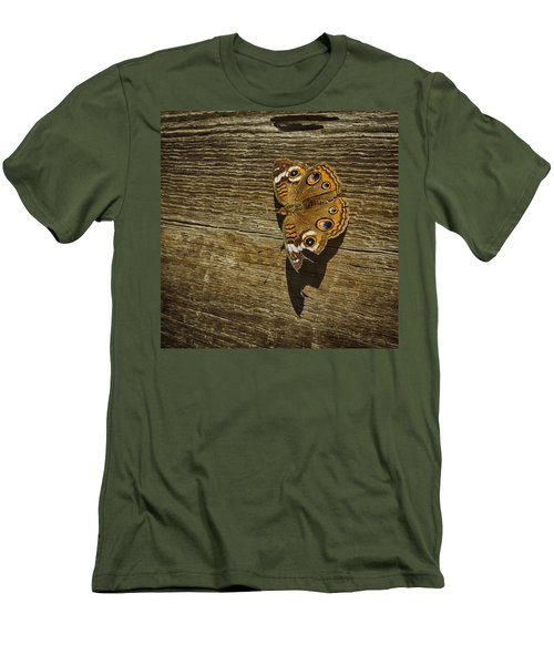 Men's T-Shirt (Slim Fit) featuring the photograph Common Buckeye With Torn Wing by Lynn Palmer