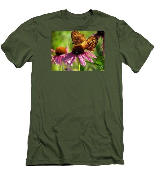 Coneflower Butterflies Men's T-Shirt (Slim Fit) by David T Wilkinson