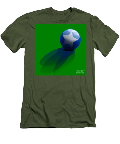 Men's T-Shirt (Slim Fit) featuring the digital art Blue Ball Decorated With Star Grass Green Background by R Muirhead Art