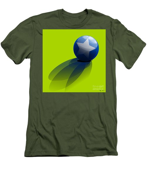 Men's T-Shirt (Slim Fit) featuring the digital art Blue Ball Decorated With Star Green Background by R Muirhead Art