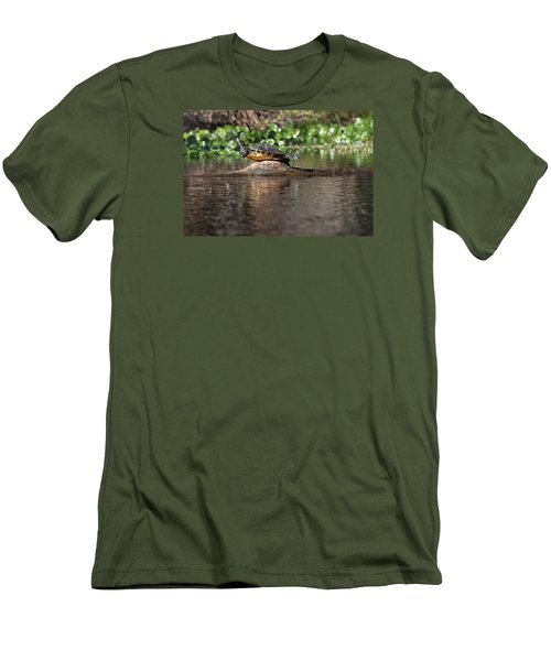 Men's T-Shirt (Slim Fit) featuring the photograph Cooter On Alligator Log by Paul Rebmann