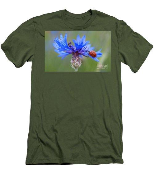 Men's T-Shirt (Slim Fit) featuring the photograph Cornflower Ladybug Siebenpunkt Blue Red Flower by Paul Fearn