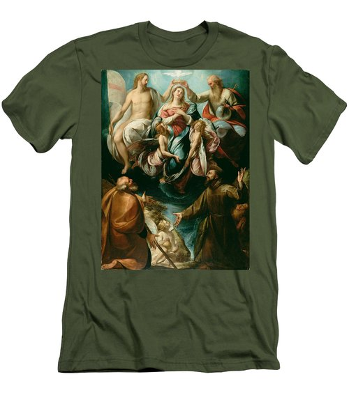 Coronation Of The Virgin With Saints Joseph And Francis Of Assisi Men's T-Shirt (Athletic Fit)