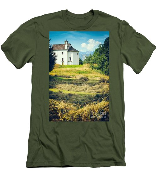 Men's T-Shirt (Slim Fit) featuring the photograph Country Church With Hay by Silvia Ganora