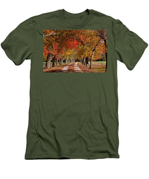 Men's T-Shirt (Slim Fit) featuring the photograph Country Lane In Autumn by Jerry Gammon