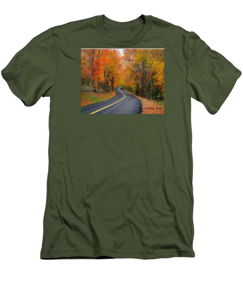 Men's T-Shirt (Slim Fit) featuring the painting Country Road In Autumn by Bruce Nutting
