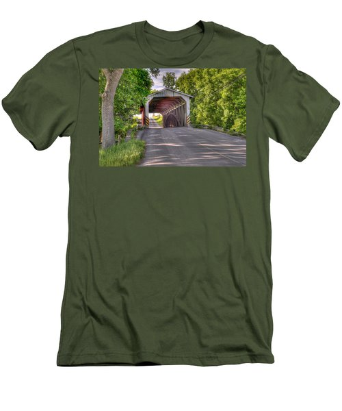 Men's T-Shirt (Slim Fit) featuring the photograph Covered Bridge by Jim Thompson