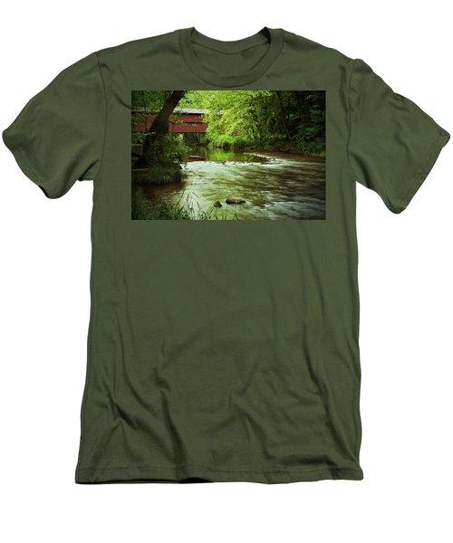 Covered Bridge Over French Creek Men's T-Shirt (Slim Fit) by Michael Porchik