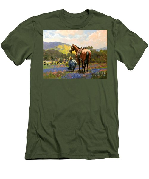 Cowboy And His Cows Men's T-Shirt (Slim Fit)
