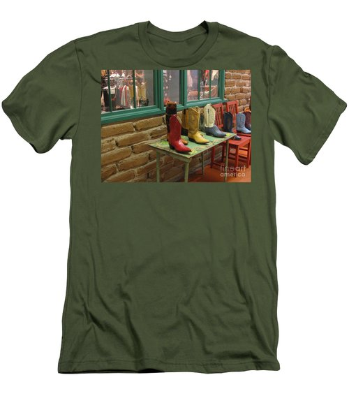 Men's T-Shirt (Slim Fit) featuring the photograph Cowboy Boots by Dora Sofia Caputo Photographic Art and Design
