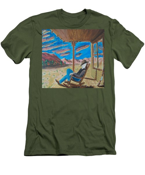Cowboy Sitting In Chair At Sundown Men's T-Shirt (Athletic Fit)