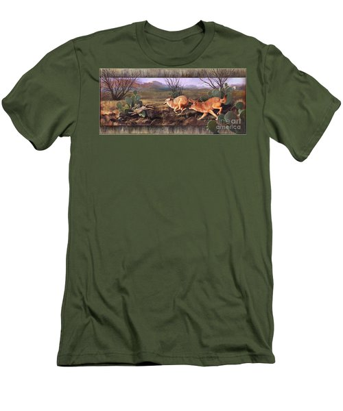 Men's T-Shirt (Slim Fit) featuring the painting Coyote Run With Boarder by Rob Corsetti