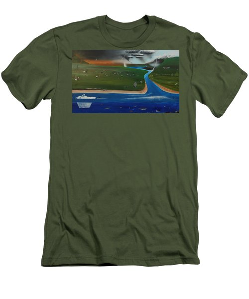 Men's T-Shirt (Slim Fit) featuring the painting Creation And Evolution - Painting 1 Of 2 by Tim Mullaney