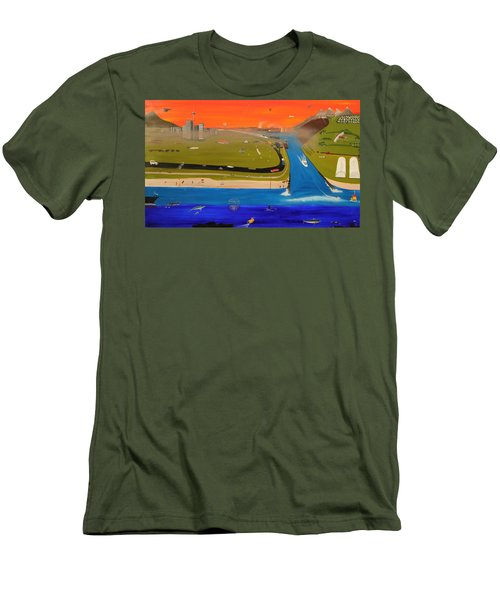 Men's T-Shirt (Slim Fit) featuring the painting Creation And Evolution - Painting 2 Of 2 by Tim Mullaney