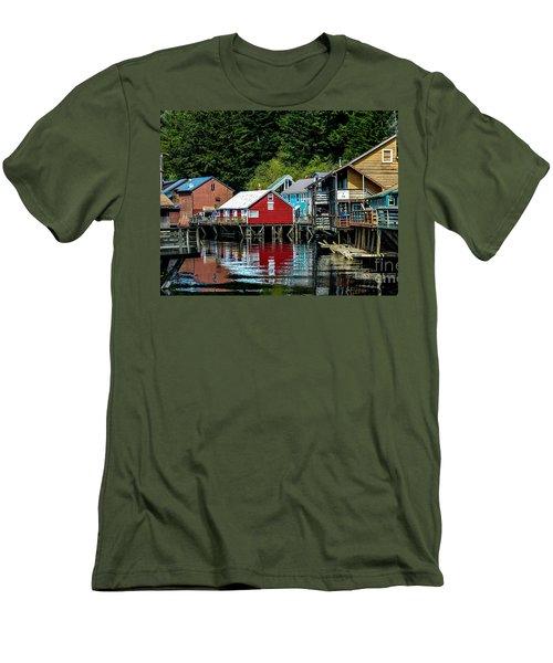 Creek Street - Ketchikan Alaska Men's T-Shirt (Slim Fit) by Debra Martz