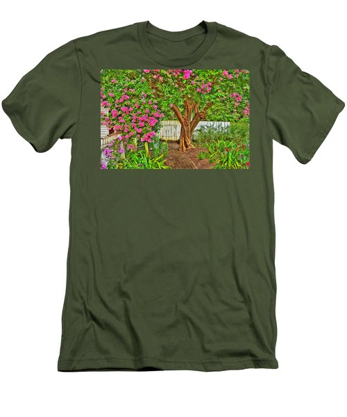 Men's T-Shirt (Slim Fit) featuring the photograph Crepe Myrtle In Wiliamsburg Garden by Jerry Gammon