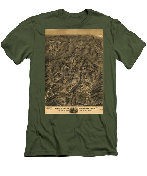 Antique Map - Cripple Creek Mining District Birdseye Map - 1895 Men's T-Shirt (Athletic Fit)