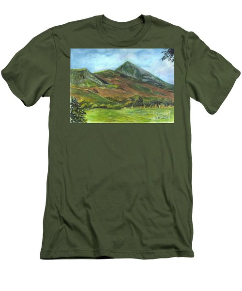 Croagh Saint Patricks Mountain In Ireland  Men's T-Shirt (Slim Fit) by Carol Wisniewski