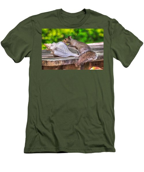 Men's T-Shirt (Slim Fit) featuring the photograph Curious Squirrel by Rob Sellers