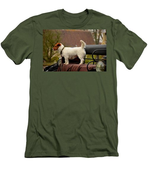 Cute Dog On Carriage Seat Bruges Belgium Men's T-Shirt (Athletic Fit)