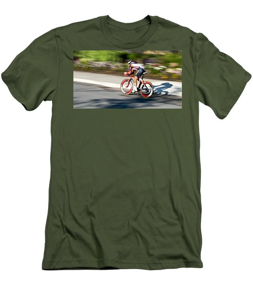 Men's T-Shirt (Slim Fit) featuring the photograph Cyclist Racing The Clock by Kevin Desrosiers