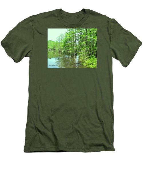 Bright Green Cypress Trees Reflection Men's T-Shirt (Slim Fit) by Belinda Lee