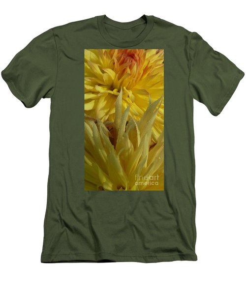 Dahlia Dew Yellow Men's T-Shirt (Slim Fit) by Susan Garren