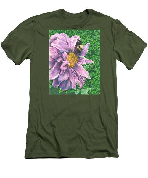 Men's T-Shirt (Slim Fit) featuring the drawing Dahlia by Troy Levesque