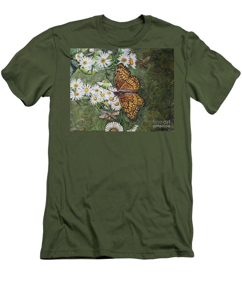 Men's T-Shirt (Slim Fit) featuring the painting Dance With The Daisies by Kimberlee Baxter