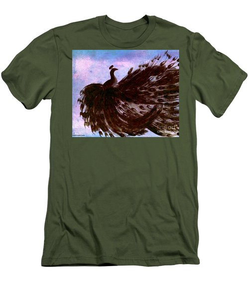 Men's T-Shirt (Slim Fit) featuring the digital art Dancing Peacock Blue Pink Wash by Anita Lewis