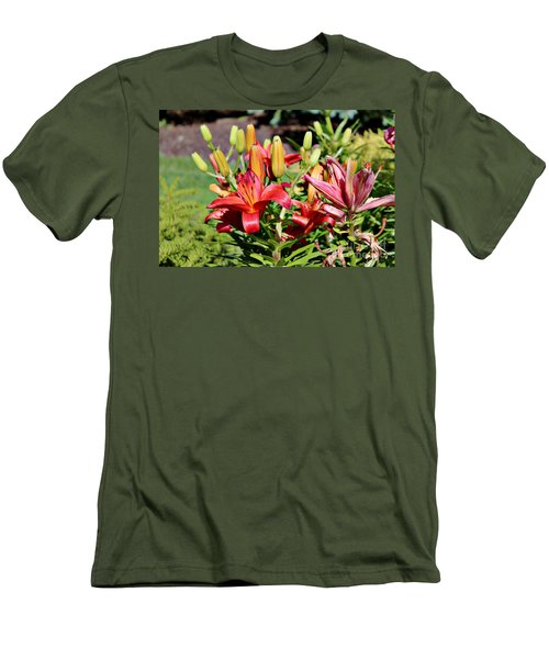 Day Lillies In The Garden Men's T-Shirt (Athletic Fit)