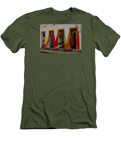 Men's T-Shirt (Slim Fit) featuring the photograph Decorated Doorways by Nareeta Martin