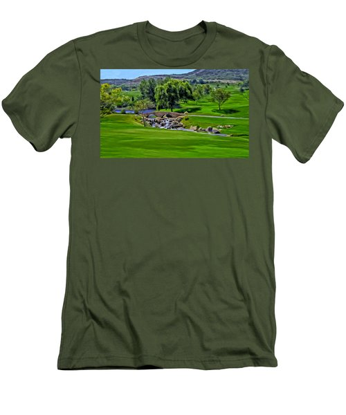 Men's T-Shirt (Slim Fit) featuring the painting Del Mar Country Club by Michael Pickett