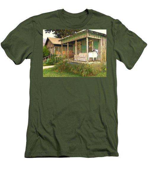 Delta Sharecropper Cabin - All The Conveniences Men's T-Shirt (Slim Fit) by Rebecca Korpita