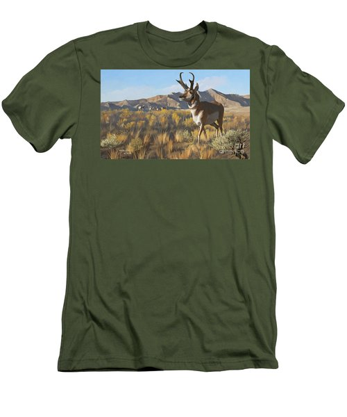 Men's T-Shirt (Slim Fit) featuring the painting Desert Buck by Rob Corsetti